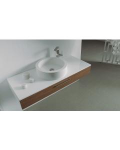 Έπιπλο Μπάνιου 120 εκ.-Νιπτήρα,  Δίχρωμο Λευκή Λάκα Γυαλιστερή -Teak ECO-120A  FT21.120.016