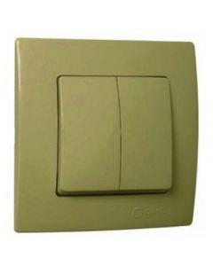 Διακόπτης Χωνευτός Διπλός Κομιτατέρ Χρυσό Ματ Makel Natural Kare 32057103