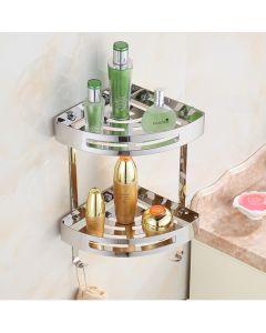 Θήκη -Ραφιέρα Διπλή Γωνιακή Υ42*22,6cm  Χρωμέ Stainless Steel 304 Domistyle 270112