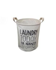 """Κάδος Απλύτων με κορδόνι  """"Laundry"""" 40*60 εκ. Υφασμάτινος Λευκό -Μαύρα Γράμματα Etoile UK263"""