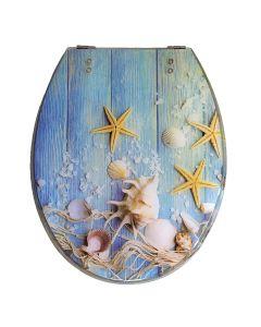 """Κάλυμμα Λεκάνης W.C Διακοσμητικό """"Αστερίες""""  40-46*36cm Οπές 11-20 εκ. Μεταλλικά στηρίγματα Elvit 5432"""