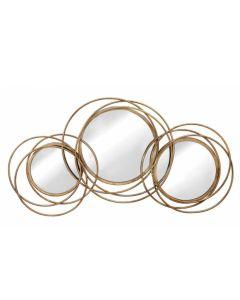 """Καθρέπτης 85*45εκ. """"Κύκλοι"""" Χρυσό Αντικέ Μέταλλο Etoile PT782"""