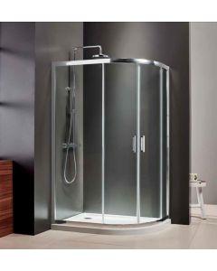 Καμπίνα Ντουσιέρας Ασσύμμετρη 120*80 εκ.,Mirror Finish,6 χιλ. Glean Glass, Ύψος 185 εκ. Axis Quadrant QX12080C-100