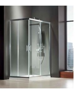 Καμπίνα Ντουσιέρας Παραλληλόγραμμη 100*70εκ.,2 σταθερά & 2 συρόμενα 6 χιλ.Κρύσταλλο Clean Glass Ύψος 185 εκ. Axis Corner Entry CX10070C-100