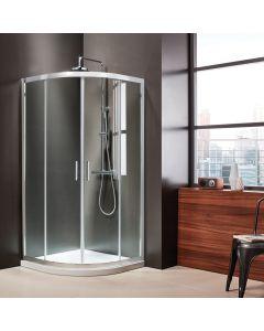 Καμπίνα Ντουσιέρας 90*90 εκ.1/4 Κύκλου ,2 σταθερά & 2 συρόμενα, Mirror Finish, 6 χιλ. 185 εκ. Clean Glass Axis Quadrant  QX90C-100