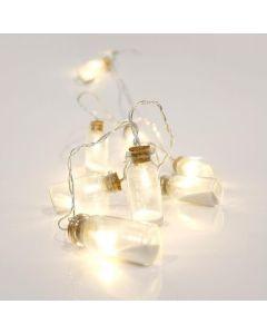 Λαμπάκια 10 Led  Μπαταρίας 3*ΑΑ Θερμό Λευκό με μπουκαλάκια με άμμο, IP20 Εσωτ. Χώρου,Διάφανο Καλώδιο, 4,5V 0,45w  Magic Christmas 600- 11137