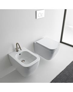Λεκάνη Κρεμαστή 52 εκ.Rimless κομπλέ Κάλυμμα Αποσπώμενο  Slim Soft Close Scarabeo Theorema Clean Flush 512600SC