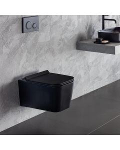 Λεκάνη Κρεμαστή 55,5 εκ. Black Matt Rimless Κάλυμμα Αποσπώμενο Slim Soft Close Bianco Ceramica Enzo NZ11500SC-401