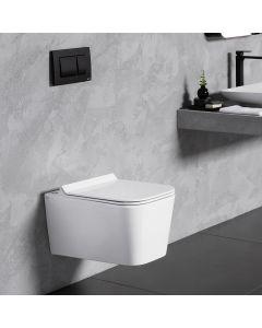 Λεκάνη Κρεμαστή 55,5 εκ. White Matt Rimless Κάλυμμα Αποσπώμενο Slim Soft Close Bianco Ceramica Enzo NZ11500SC-301