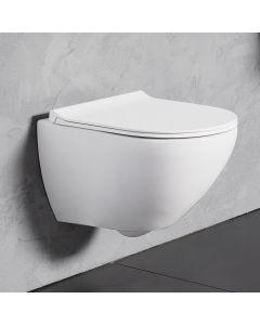 Λεκάνη Κρεμαστή 56 εκ. Rimless Λευκή Κάλυμμα Slim Soft Close Αποσπώμενο Bianco Ceramica Remo RM11500SC