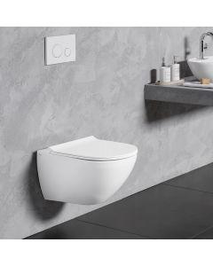 Λεκάνη Κρεμαστή 56 εκ.Rimless Λευκό Ματ Κάλυμμα Slim Soft Close Αποσπώμενο Bianco Ceramica Remo RM11500SC-301