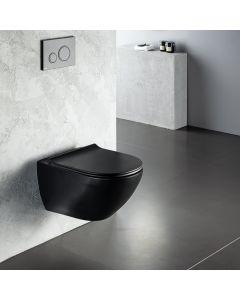 Λεκάνη Κρεμαστή 56 εκ.Rimless Μαύρο Ματ Κάλυμμα Slim Soft Close Αποσπώμενο Bianco Ceramica Remo RM11500SC-401