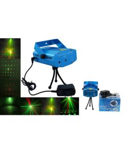 Μίνι Προτζέκτρορας Φωτορυθμικό Laser IP20 Εσωτερικού  χώρου, Πράσινη-Κόκκινη Κουκίδα  13175