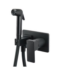Μείκτης Εντοιχιζόμενος 2 οπών με ντουσάκι Μαύρο Ματ LaTorre Flush Mix Profili 45211-400