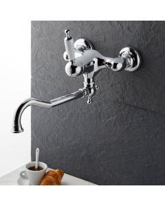 Μπαταρία Κουζίνας Τοίχου Retro Χρωμέ-Λευκό Bugnatese Oxford 6340-100