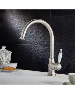 Μπαταρία Νεροχύτη Κουζίνας Retro Inox Finish / Λευκό Πορσελανάκι Bugnatese Oxford 6381-110