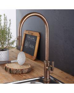 Μπαταρία Νεροχύτη Natural Brass Περιστρεφόμενο ρουξούνι με συρόμενο ντους 2 Λειτουργιών (Shower-Spray) Armando Vicario Urban 400702-225