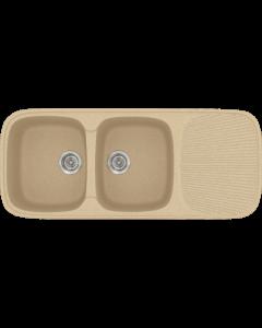 Νεροχύτης Κουζίνας Συνθετικός 117*50 εκ. 2 Γούρνες+Ποδιά  Χρώμα  Granite Cappuccino Ένθετος σε ερμάριο 80 εκ. Sanitec Classic 300