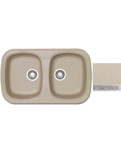 Νεροχύτης Κουζίνας Συνθετικός 82*50 εκ.2 Γούρνες Granite Cappuccino Ένθετος σε ερμάριο 80 εκ.Sanitec Classic 312