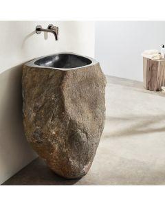 Νιπτήρας Επιδαπέδιος Ø45-60*Ύψος 90 εκ. Φυσική Πέτρα  Fossil Vero Riverstone Black RP90-400