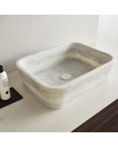 Νιπτήρας Μπάνιου Επιτραπέζιος 60*38 εκ. Carrara Nuovo Φυσικό Μάρμαρο Γκρι Fossil Gaia DS60-300