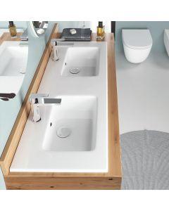 Νιπτήρας Μπάνιου 121,6*46 εκ. Λευκή Πορσελάνη Κρεμαστός/Επικαθήμενος Επίπλου Bianco Ceramica Flat 36120