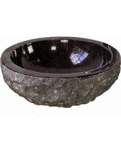 Νιπτήρας Πέτρινος Επιτραπέζιος Μαύρος Ø40*15cm Bati Meteor Nero
