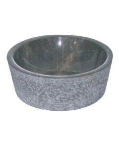 Νιπτήρας Πέτρινος Επιτραπέζιος Bati Jaya Μαύρο  Ø40*15cm