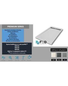 Ντουζιέρα Τεχνητού Γρανίτη Γκρι  80*140εκ. με γραμμικό σιφώνι F&D  Premium Series FDP80140GREY