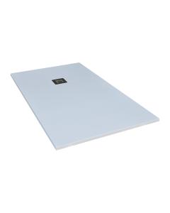 Ντουζιέρα Τεχνητού Γρανίτη Λευκή Ασύμμετρη  80*120εκ. με γραμμικό σιφώνι F&D Nature Series FD80120W