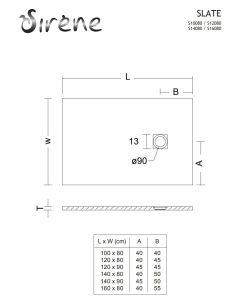 Ντουσιέρα 120*80*2,4 εκ. Υφή Πέτρας Λευκό Ματ Χυτό Μάρμαρο Sirene Slate S12080-301