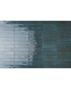 Πλακάκι Τοίχου Τουβλάκι 6*25 εκ. Πορσελανάτο Διπλής Υάλωσης Soho Blue Super Glossy