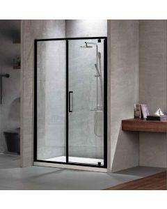 Πόρτα Ντουσιέρας 130 εκ. Μαύρο Μάτ 1 Σταθερό-1 Ανοιγόμενο 6 χιλ.Κρύσταλλο Clean Glass,Ύψος 195 εκ.Devon Primus Plus Pivot+Infill PIR130C-400