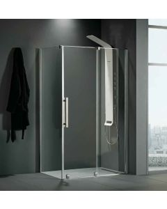 Πόρτα Ντουσιέρας 130 εκ. Προφίλ Χρώμιο 1 Σταθερό-1 Συρόμενο (Αντιστρεφόμενη) 8 χιλ. Clean Glass,Ύψος 200 εκ.Devon Slider 1+1 Breeze BSL130C-100