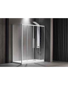 Πόρτα Ντουσιέρας 160 εκ. Προφίλ Λευκό Ματ 2 Σταθερά-2 Συρόμενα  6 χιλ.Κρύσταλλο Clean Glass,Ύψος 195 εκ.Devon Flow Slider 2+2 SL2F160C-300