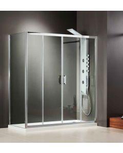 Πόρτα Ντουσιέρας 160 εκ. 2 Σταθερά + 2 Συρόμενα Προφίλ Χρώμιο 6  χιλ. Κρύσταλλο Clean Glass Ύψος 185 εκ. Axis Bath Slider Clear SL2X160C-100
