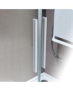 Πόρτα Ντουσιέρας 170 εκ. Λευκό Ματ 2 Σταθερά-2 Συρόμενα  6 χιλ.Κρύσταλλο Clean Glass,195 εκ.Devon Flow Slider 2+2 SL2F170C-300