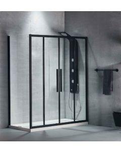 Πόρτα Ντουσιέρας 170 εκ. Προφίλ Μαύρο Ματ 2 Σταθερά-2 Συρόμενα  6 χιλ.Κρύσταλλο Clean Glass,Ύψος 195 εκ.Devon Flow Slider 2+2 SL2F170C-400