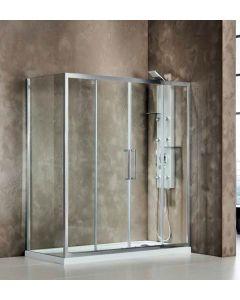 Πόρτα Ντουσιέρας 170 εκ. Χρώμιο 2 Σταθερά-2 Συρόμενα, 6 χιλ.Κρύσταλλο Clean Glass,Ύψος 195 εκ.Devon Primus Plus Slider 2+2 SL2T170C-100