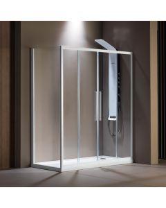 Πόρτα Ντουσιέρας 180 εκ. Λευκό Ματ 2 Σταθερά-2 Συρόμενα  6 χιλ.Κρύσταλλο Clean Glass,195 εκ.Devon Flow Slider 2+2 SL2F180C-300