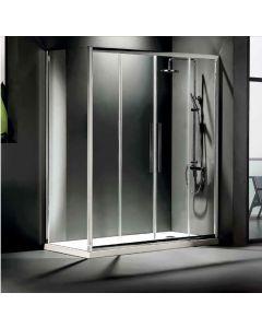 Πόρτα Ντουσιέρας 180 εκ. 2 Σταθερά+ 2 Συρόμενα Προφίλ Χρώμιο, 6 χιλ. Κρύσταλλο Clean Glass, Ύψος 195 εκ. Devon Flow Slider 2+2 SL2F180C-100