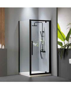Πόρτα Ντουσιέρας 80 εκ. 1 Ανοιγόμενο (Αντιστρεφόμενη) Προφίλ Μαύρο Ματ, Ύψος 195 εκ. 6 χιλ. Κρύσταλλο Clean Glass Devon Flow Pivot  PF80C-400
