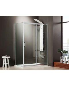 Πόρτα ντουσιέρας 160εκ. Κρύσταλλο 6 χιλ. Clean Glass Ύψος 185 εκ.1 σταθερό & 1 συρόμενο φύλλο  Axis Slider 1+1 SLX160C-100