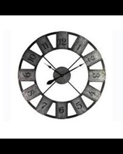 Ρολόι Τοίχου Vintage Ø80 εκ. Μέταλλο Ασημί Γαλβανιζέ -Μαύρο  Etoile Iron NN881