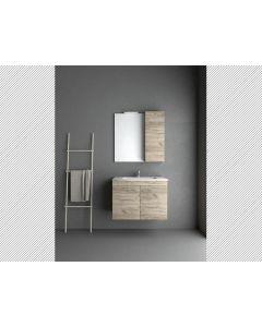 Σετ Έπιπλο Μπάνιου Βάση Grey Craft 100 εκ.Βάση -Νιπτήρας-Καθρέπτης -Φωτιστικό Savvopoulos Economy Emily II