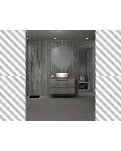 Σετ Έπιπλο Μπάνιου 70*Y55*43 εκ. Χρώμα Cemento Ματ Βάση -Νιπτήρας, Πάγκος Μασίφ Ξύλο Πεύκο 40mm, Καθρέπτης Round Led Savvopoulos Likno IV