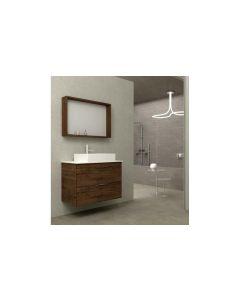 Σετ Έπιπλο Μπάνιου 80 εκ. Βάση -Νιπτήρας, Πάγκος Λευκό Τεχνομάρμαρο 20mm, Καθρέπτης Savvopoulos Likno II