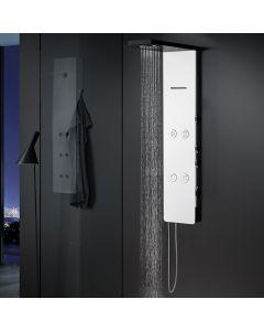 Στήλη Ντους -Υδρομασάζ  Μασίφ Αλουμίνιο 4 Εξόδων, Λευκό Ματ σώμα-Μαύρη Κεφαλή Icos Shower Nefele