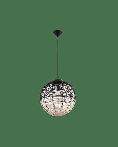 Φωτιστικό Κρεμαστό Μονόφωτο Ø30εκ.Πλεκτό Καλάθι σε φυσικό & μαύρο χρώμα Vokef Omicron 4211700